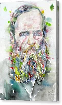 Fyodor Dostoyevsky - Watercolor Portrait.5 Canvas Print