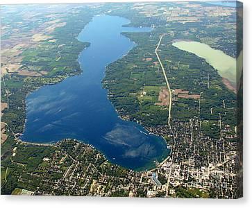 G-028 Geneva Lake And Como Lake Wisconsin Canvas Print