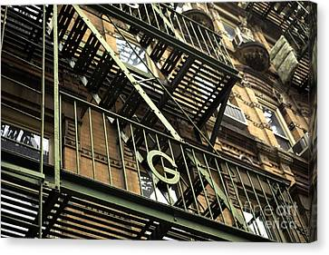 Nyc Fire Escapes Canvas Print - G In The Village by John Rizzuto