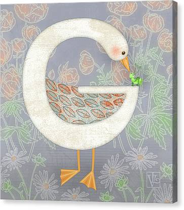 G Is For Goose And Grasshopper Canvas Print by Valerie Drake Lesiak