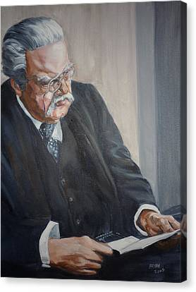 Canvas Print featuring the painting G K Chesterton by Bryan Bustard