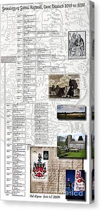 Genealogy Canvas Print - Gabhal Raghnal Pedigree by Val Byrne