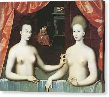 Gabrielle D Estrees And One Of Her Sisters Canvas Print by School of Fontainebleau