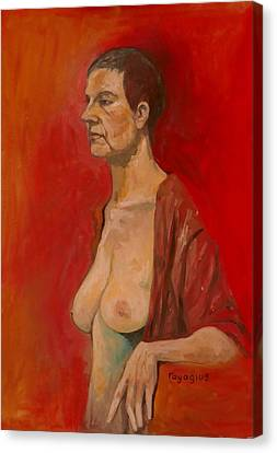 Canvas Print featuring the painting Gabrielle Standing by Ray Agius