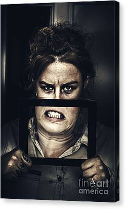 Gadget Mad Woman With New Tablet Technology Canvas Print