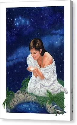 Gaian Tarot Star Canvas Print by Joanna Powell Colbert