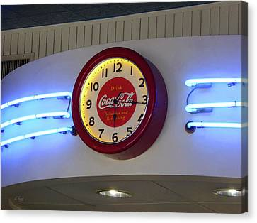Canvas Print featuring the photograph Galaxy Diner Clock by Gordon Beck