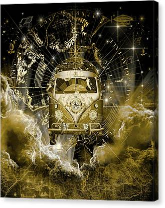 Old Map Canvas Print - Galaxy Vintage Voyager 3 by Bekim Art