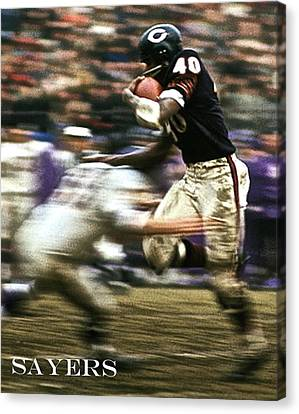 Gale Sayers, The Kansas Comet, Chicago Bears Canvas Print by Thomas Pollart