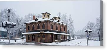 Galena Depot Snowfall Canvas Print by Steve Gadomski