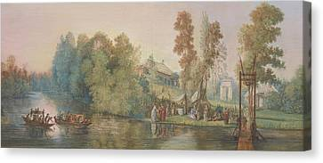 Gallant Scene  Picnic At A Lake, Canvas Print by Jean Pierre Norblin