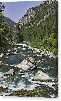 Gallatin River House Rock Canvas Print by Mark Harrington