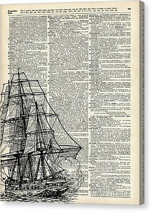 Galleon Ship Over Dictionary Page Canvas Print by Jacob Kuch
