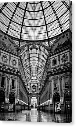 Galleria Milan Italy Bw Canvas Print by Joan Carroll
