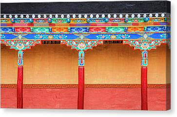 Canvas Print featuring the photograph Gallery In A Buddhist Monastery by Alexey Stiop