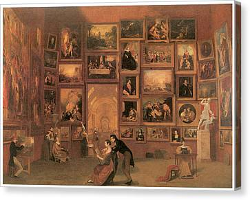 Gallery Of The Louvre Canvas Print by Samuel Morse