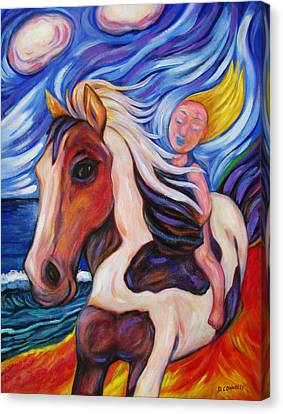 Canvas Print featuring the painting Gallop Along The Beach by Dianne  Connolly