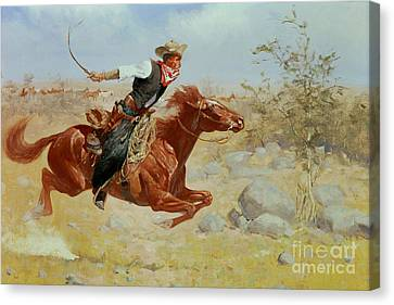 1890 Canvas Print - Galloping Horseman by Frederic Remington