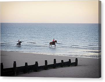 Galloping On The Beach  Canvas Print