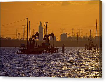 Island Stays Canvas Print - Galveston Bay Oil Pumpers by Linda Unger