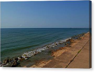 Canvas Print featuring the photograph Galveston Beach At The Seawall by Tikvah's Hope