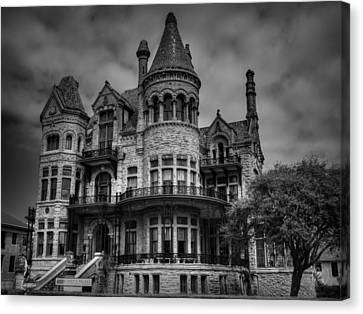 Galveston - Bishop's Palace 003 Bw Canvas Print by Lance Vaughn