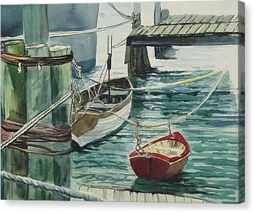 Galveston Boats Watercolor Canvas Print by Judy Loper