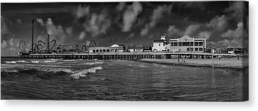 Canvas Print featuring the photograph Galveston Pleasure Pier Black And White by Joshua House