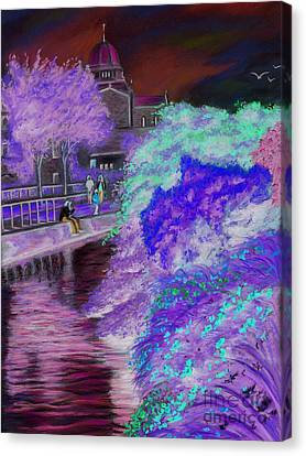 Galway Cathedral View Fron The Canal Canvas Print by Vanda Luddy