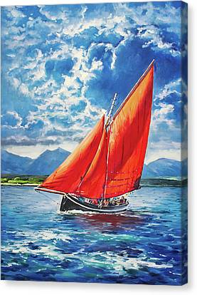 Galway Hooker At Sea Canvas Print