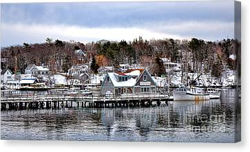 Gamage Shipyard In Winter Canvas Print by Olivier Le Queinec