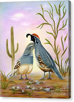 Gambel Quails Friends Forever Canvas Print by Judy Filarecki