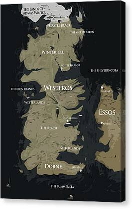 Game Of Thrones Map Canvas Print by Semih Yurdabak