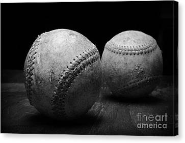 Game Used Baseballs In Black And White Canvas Print by Paul Ward