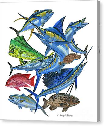 Gamefish Collage Canvas Print by Carey Chen