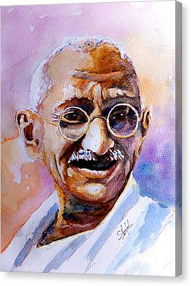 Canvas Print featuring the painting Gandhi by Steven Ponsford