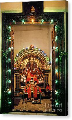 Canvas Print featuring the photograph Ganesh Shrine by Granger