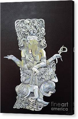 Canvas Print featuring the painting Ganesh The Elephant God by Eric Kempson