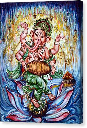 Ganesha Dancing And Playing Mridang Canvas Print