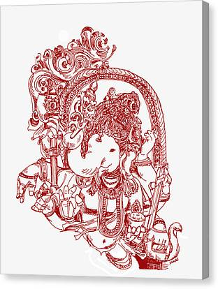 Ganesha Line Drawing Canvas Print