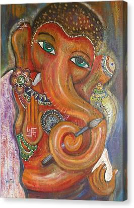 Canvas Print featuring the painting Ganesha My Muse by Prerna Poojara