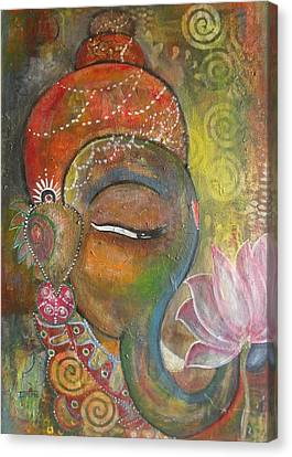 Canvas Print featuring the painting Ganesha With A Pink Lotus by Prerna Poojara