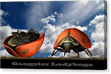 Canvas Print featuring the digital art Gangster Ladybugs Nature Gone Mad by Bob Orsillo