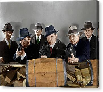 Canvas Print featuring the photograph Gangsters by Granger