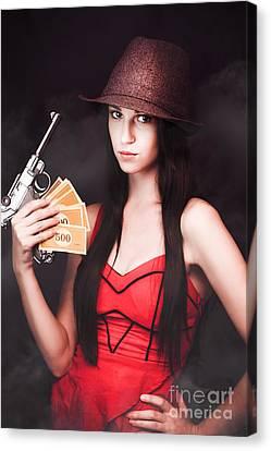 Ganster And Her Gun Canvas Print by Jorgo Photography - Wall Art Gallery