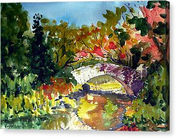 Gapstow Bridge In October Canvas Print by Chris Coyne