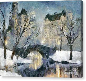 Gapstow Bridge In Snow Canvas Print