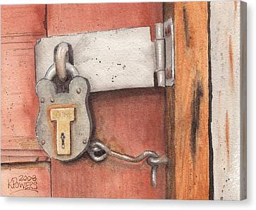 Garage Lock Number Four Canvas Print by Ken Powers