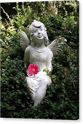 Garden Angel Canvas Print by Judy  Waller
