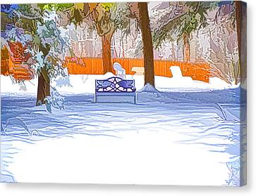Garden  Bench With Snow Canvas Print by Lanjee Chee